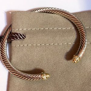 David Yurman 18kYG dome diamond 925 cuff bracelet